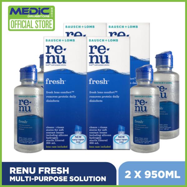 Buy [Bundle of 2] Bausch & Lomb Renu Fresh Multi-Purpose Solution 355ml x 2 + 120ml x 2 [Expiry Oct 2021] Singapore