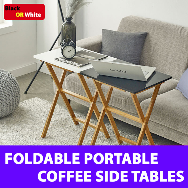 Foldable Portable Moveable Lightweight Side Coffee Table - Black