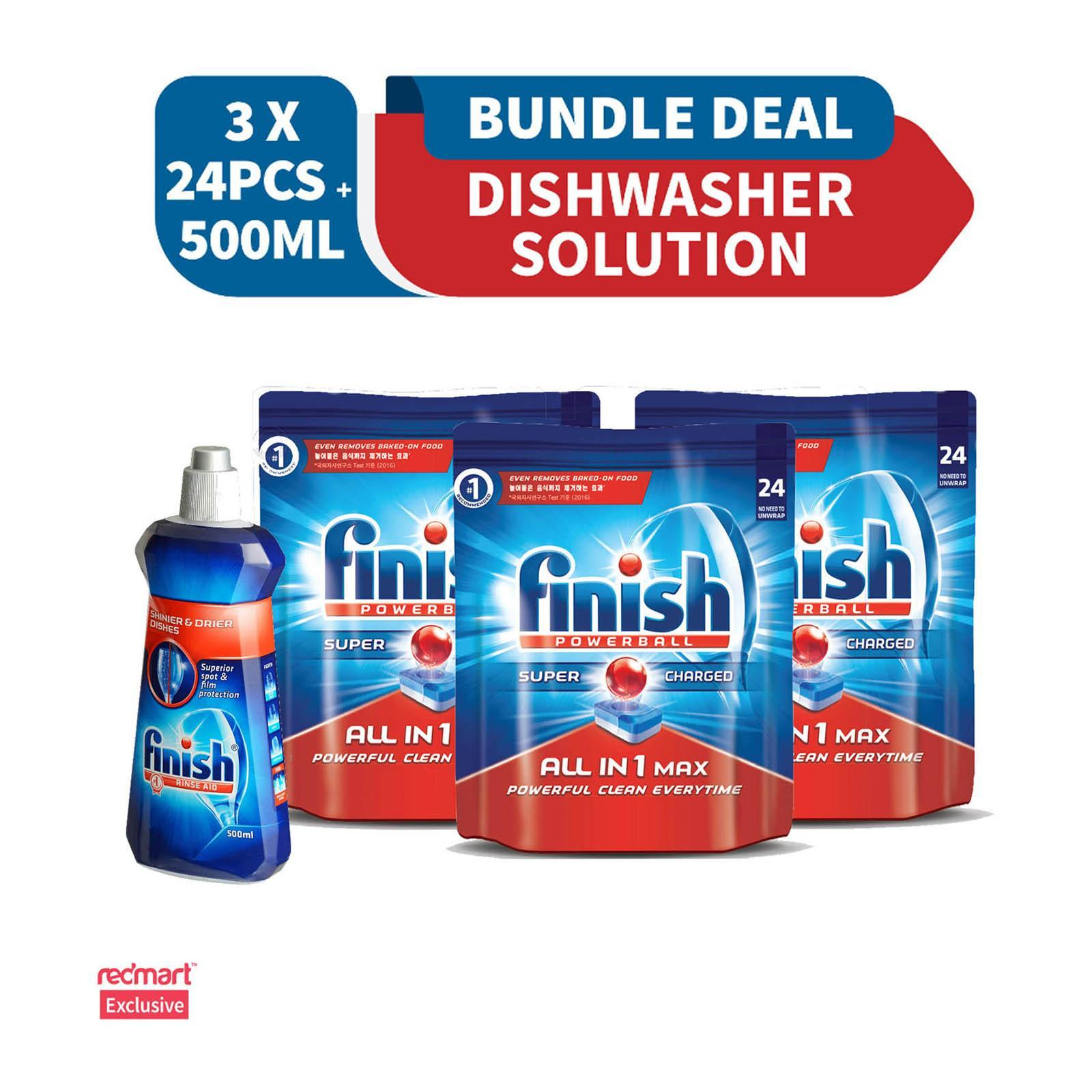 Finish 3 X Finish All In One Max Super Charged Powerball Dishwasher Tablets 24 Tablets And 1 X Finish Diamond Rinse Aid