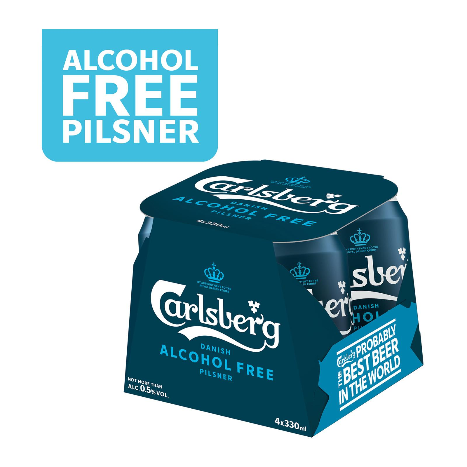 Carlsberg Alcohol Free Pilsner Beer Can 330ml (Pack of 4)