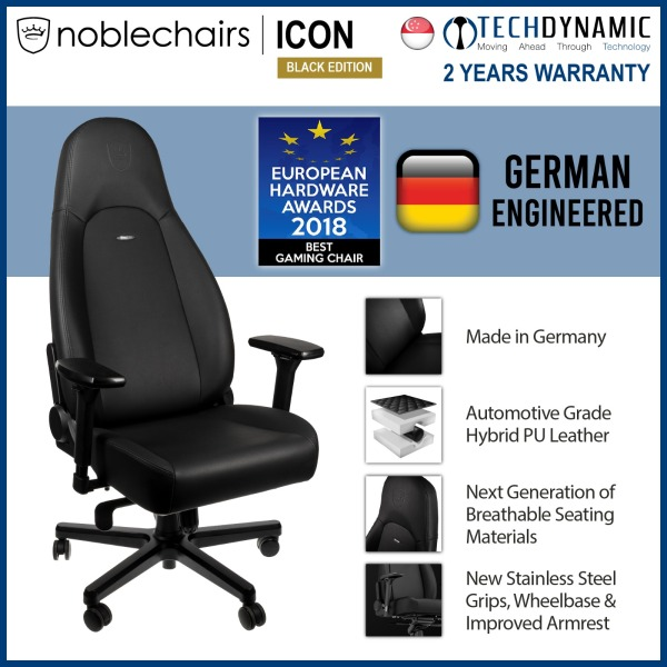 Noble Chairs Gaming Chair Vinyl / PU hybrid leather ICON Series - Black Edition [To be delivered within 1 week from order date]