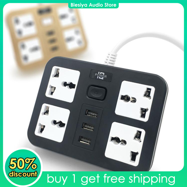 Blesiya Power Strip Socket with 4 Outlet 3 USB Ports 1.8m Cable, Surge Protection Plug Extension Sockets