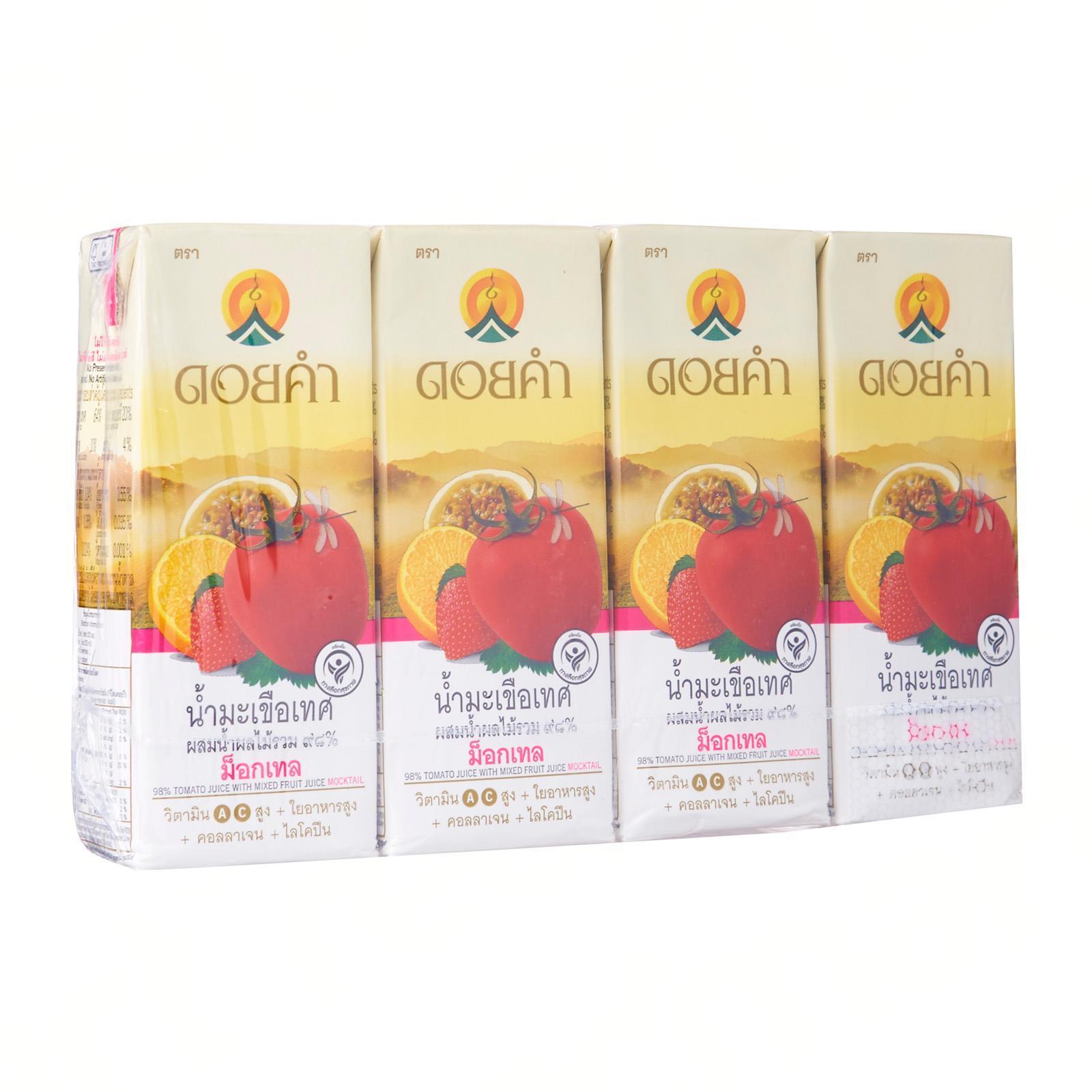 Doi Kham 98% Tomato Juice With Mixed Fruit Juice Mocktail (Tomato Strawberry Passion Fruit Orange) Not From Concentrate