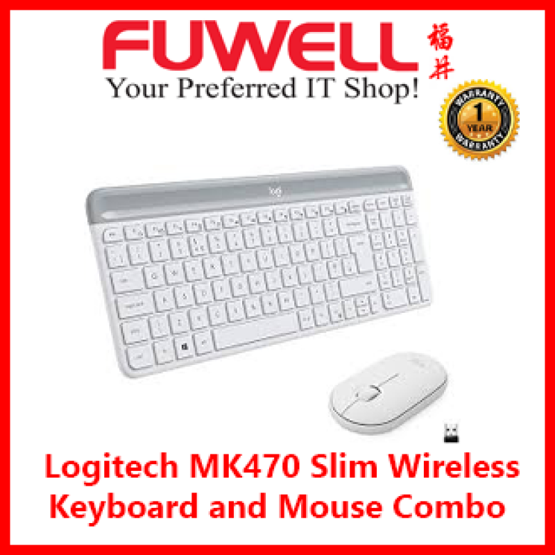 FUWELL - Logitech MK470 Slim Wireless Keyboard and Mouse Combo  ( Graphite / Off White ) [ 1Year Local Warranty ] Singapore