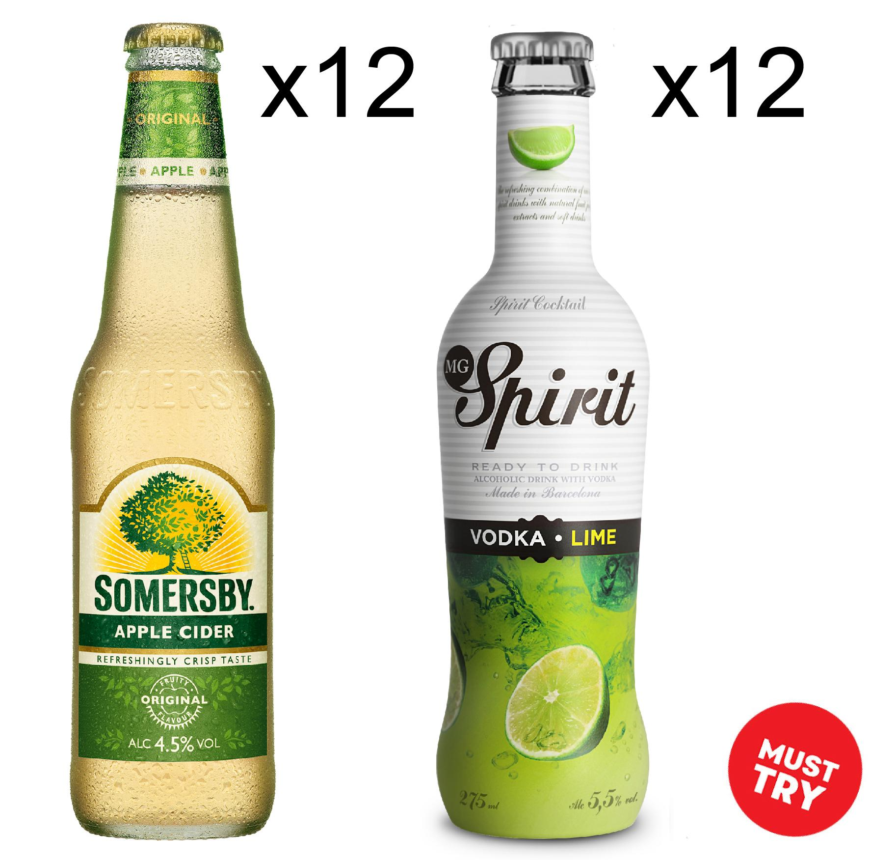 Somersby Apple 12x330ml + Mg Lime 12x275ml (fresh) By Newcastle Drinks.