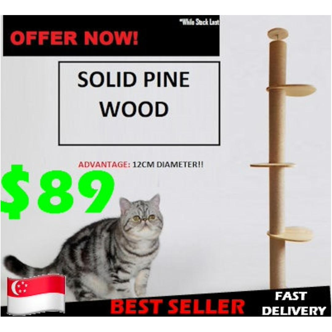 12cm Diameter Solid Pine Wood Cat Ceiling High Tree Climbing Cat Condo By Leocato.