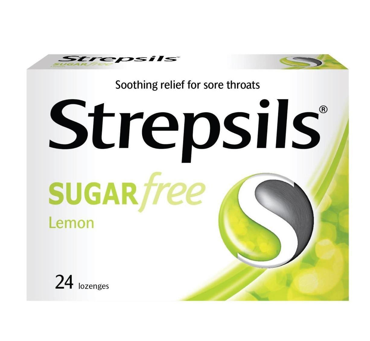 Strepsils Sugar-Free Lemon Lozenges 24/box By The Dental Pharm.