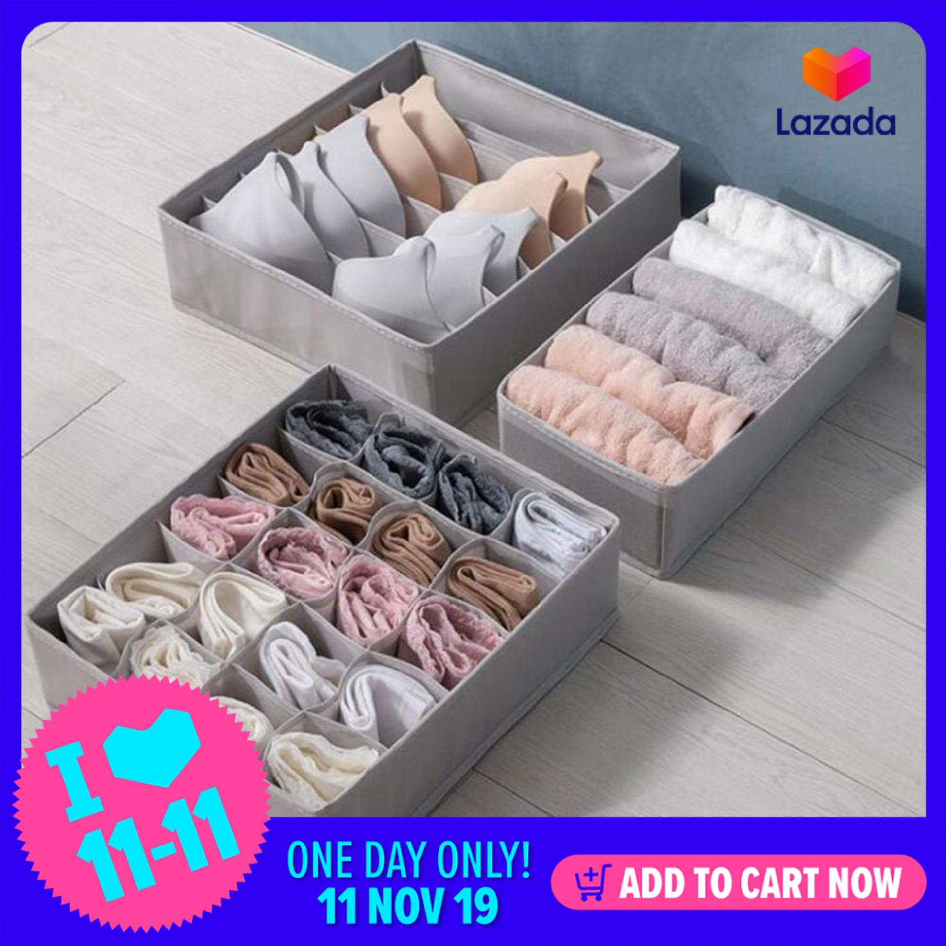 SeaLavender 3pcs Multi-size Bra Underwear Organizer Foldable Home Storage Box Non-woven Wardrobe Drawer Closet Organizer For Scarfs Socks