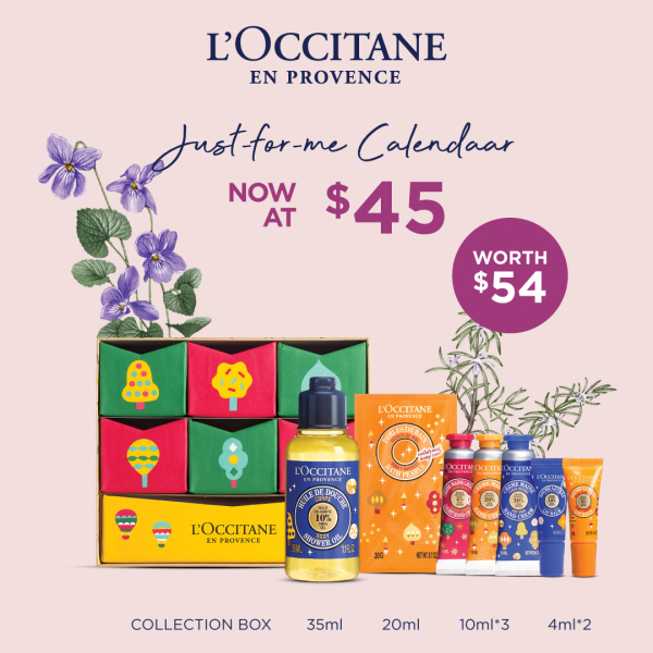 Buy [MOTHER'S DAY SET] L'OCCITANE – JUST-FOR-ME CALENDAR (worth $54) • includes HOLIDAY COLLECTION BOX+Shea Shower Oil 35ml+Shea Honey Harvest Bath Pearls 20g+Shea Honey Harvest Lip Balm 4ml+Shea Butter Lip Balm 4ml+Shea Festive Garden Hand Cream 10ml Singapore