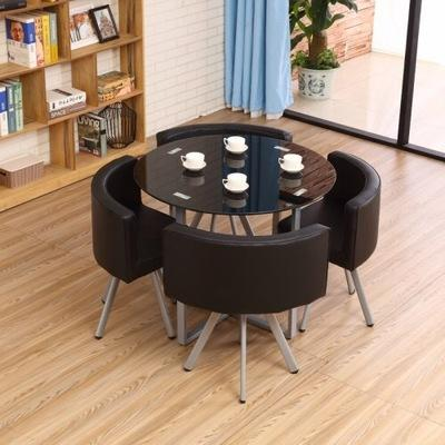 JIJI Spacious Coffee Dining Set - Glass (Round/Square) (1+4) (Free Installation) - Tables / Furniture / Kitchen (SG)