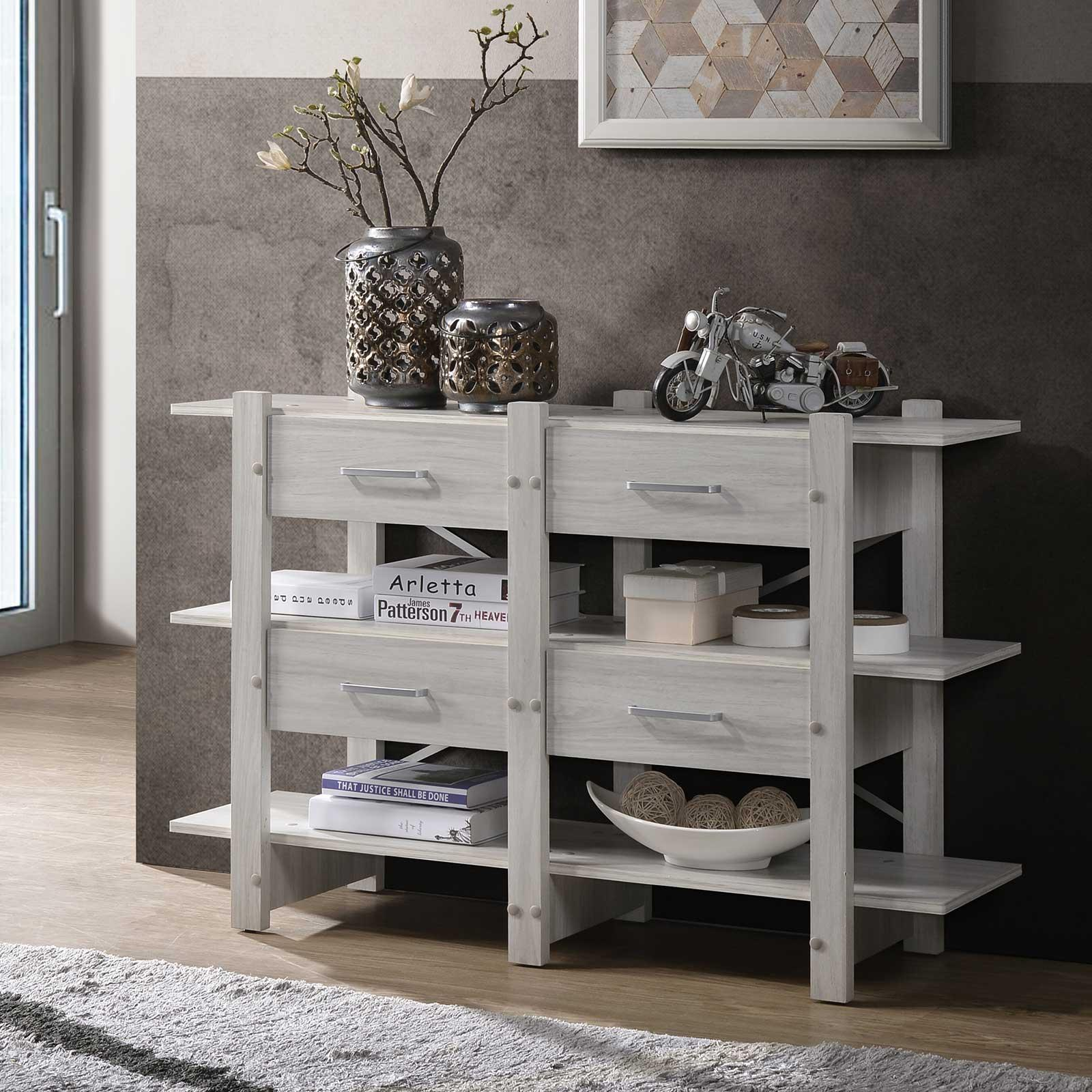 Sideboard Buffet Table (Free Installation + Delivery) Storage Cabinet White Oak E-LIVING Furniture