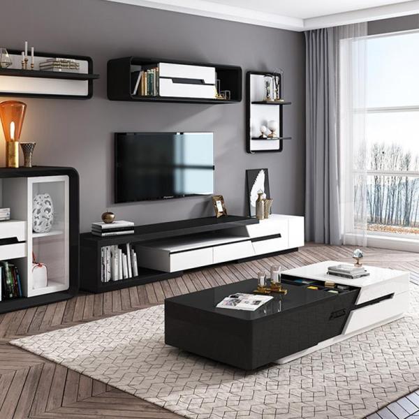 Premium Wooden  Furniture TV Console + Coffee Table Set - Black
