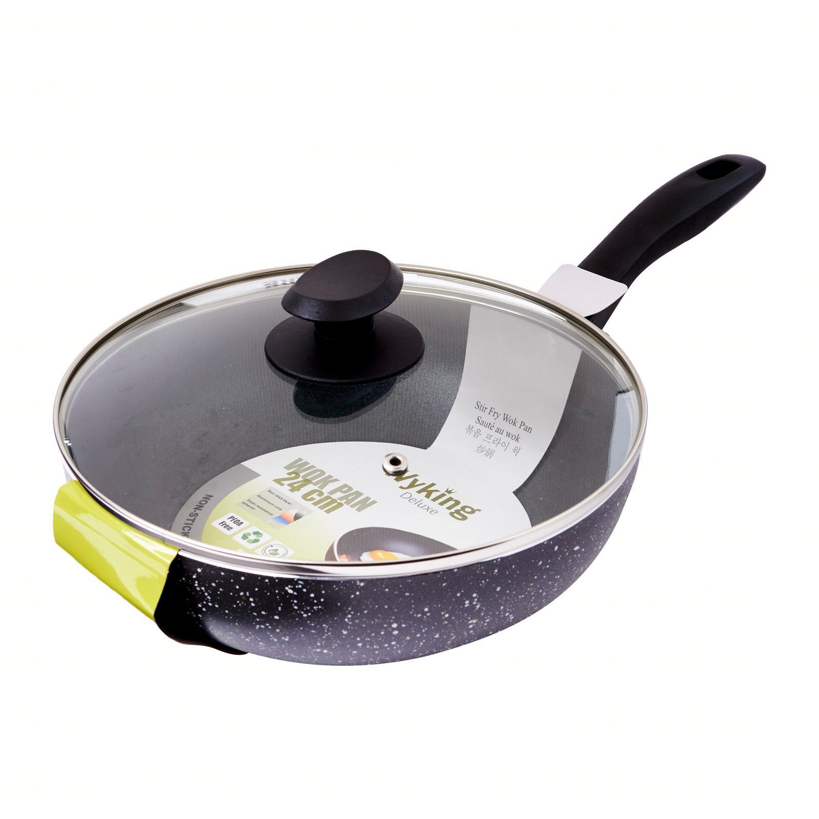 Wyking Non Stick Induction Wok Pan with Glass Lid (24 CM)