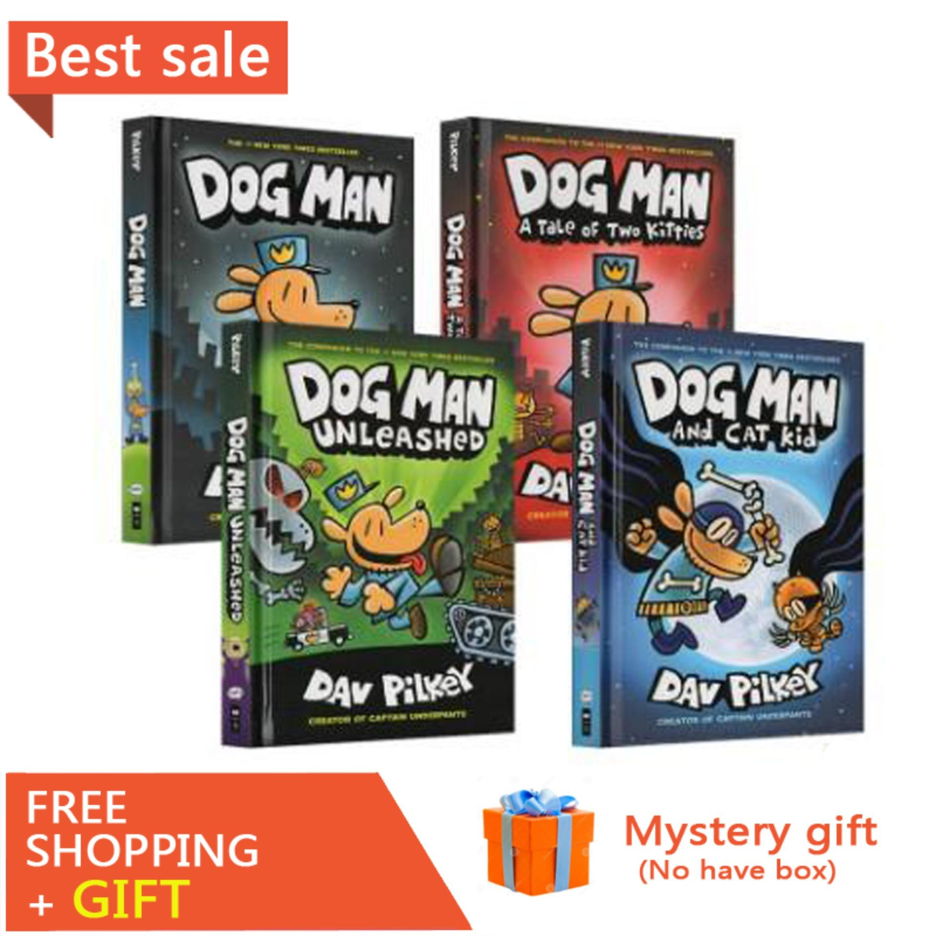 DOG MAN 4 Volumes Children English Picture Books Funny Adventure Cartoons Manga Story Books for Kids Children Comic Book Reading Training