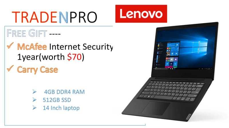 Lenovo S145 -14IWL 14inch   4GB DDR4 RAM  512GB PCIE SSD , Full HD ,Thin and Light Laptop ---BLACK