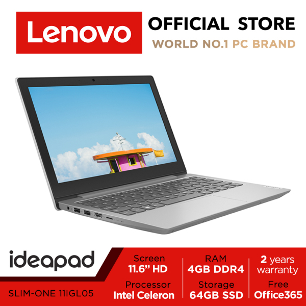 【Express Delivery】Lenovo ideapad 1i | 81VT0003SB  11.6inch FHD | Intel Celeron | 4GB RAM | 64GB | 2Y warranty | Win10 | Office 365