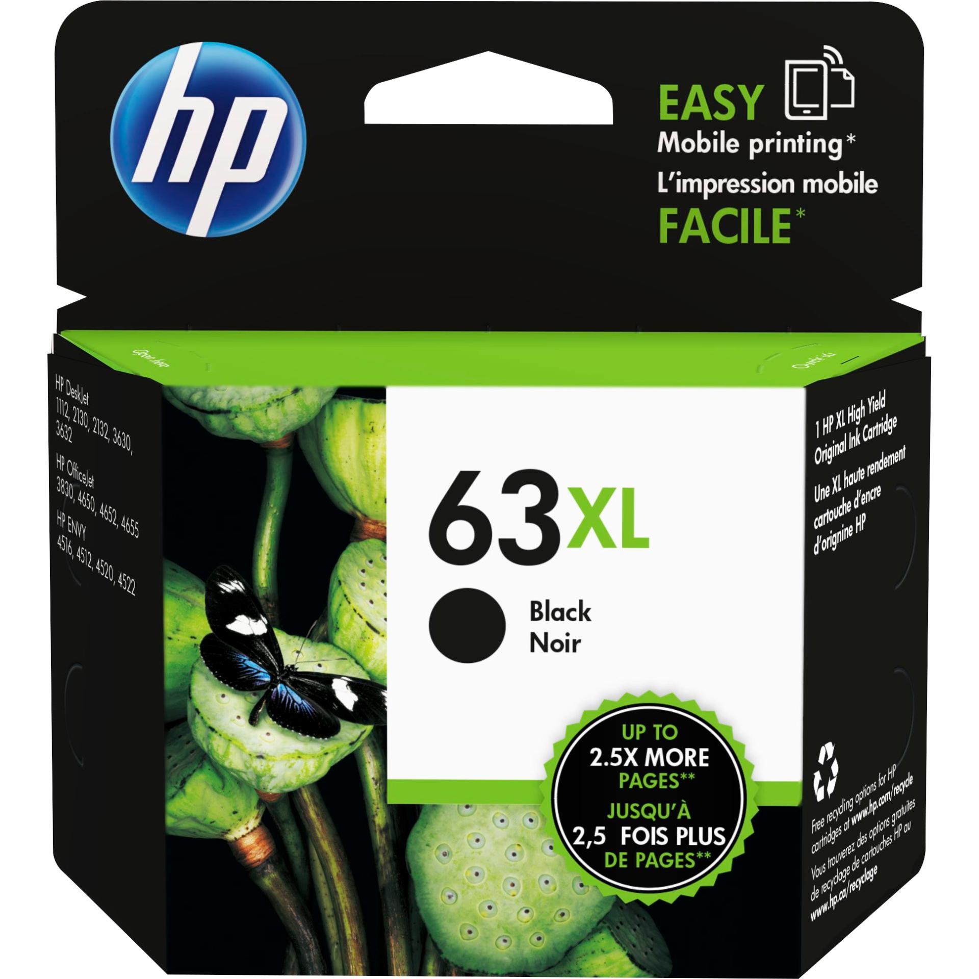 Hp 63xl High Yield Black Original Ink Cartridge Deskjet 1100/1111/1113/1114/2130/2131/2133/2134/2136/2137/3630; Envy 4510/4513/4520; Officejet 3830/4650/4655/5220/5230/5252/5255/5258/5260/5264 By Hp Official Store