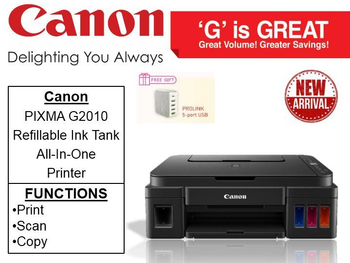Canon PIXMA G2010 Refillable Ink Tank All-In-One Printer ** Free Prolink  5-Port USB Till 20th May 2019 ** G 2010 Singapore