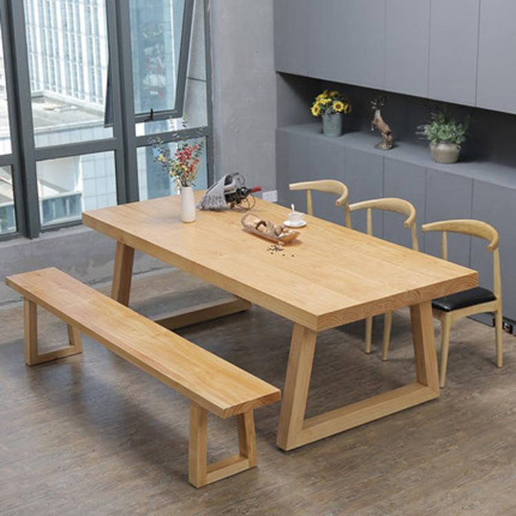 Nordic Simple Furniture Solid Wood Dining Tables And Chairs Set Logs Kung Fu Tea Table Simple Rectangular Negotiate Wood Long Table By Taobao Collection
