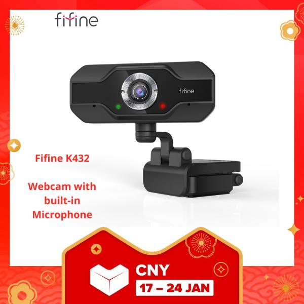 Fifine K432 HD Webcam 1080P PC Web Camera for Computer Laptop Desktop, Plug & Play USB Streaming Webcam with Dual Mic