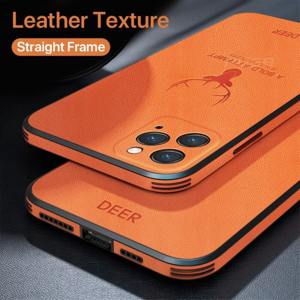 Casing iPhone 12 11 Pro Max Mini iPhone X XR XS Luxury Leather Texture Square Frame Deer Camera Protection Shockproof Case Cover