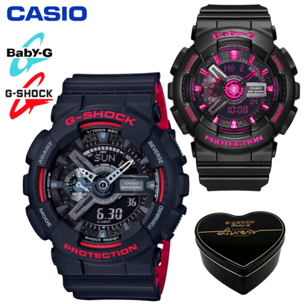 Original Casio G Shock Baby G GA110 BA110 Men Women Couple Set Sport Watch Dual Time Display Water Resistant Shockproof and Waterproof World Time LED Light Sports Lover Wrist Watches with 2 Year Warranty BA-111-1A/GA-110HR-1A Black Red Malaysia