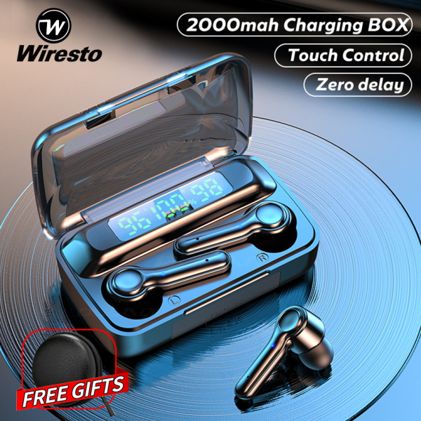 Wiresto True Wireless Earbuds Stereo Earphone EarbudMini Bluetooth Earphone Sports Earphone Headphone Touch Control Sport Earpiece Small Invisible Gaming Headset with Microphone Free Case Box Charging Case Singapore