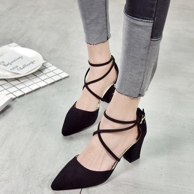 Female Spring 2019 New Style Sandals Chunky Heel Suede Versatile High Heel Shoes Pointed Shallow Mouth Semi-High Heeled Bandage Cloth Rome Shoe By Taobao Collection.