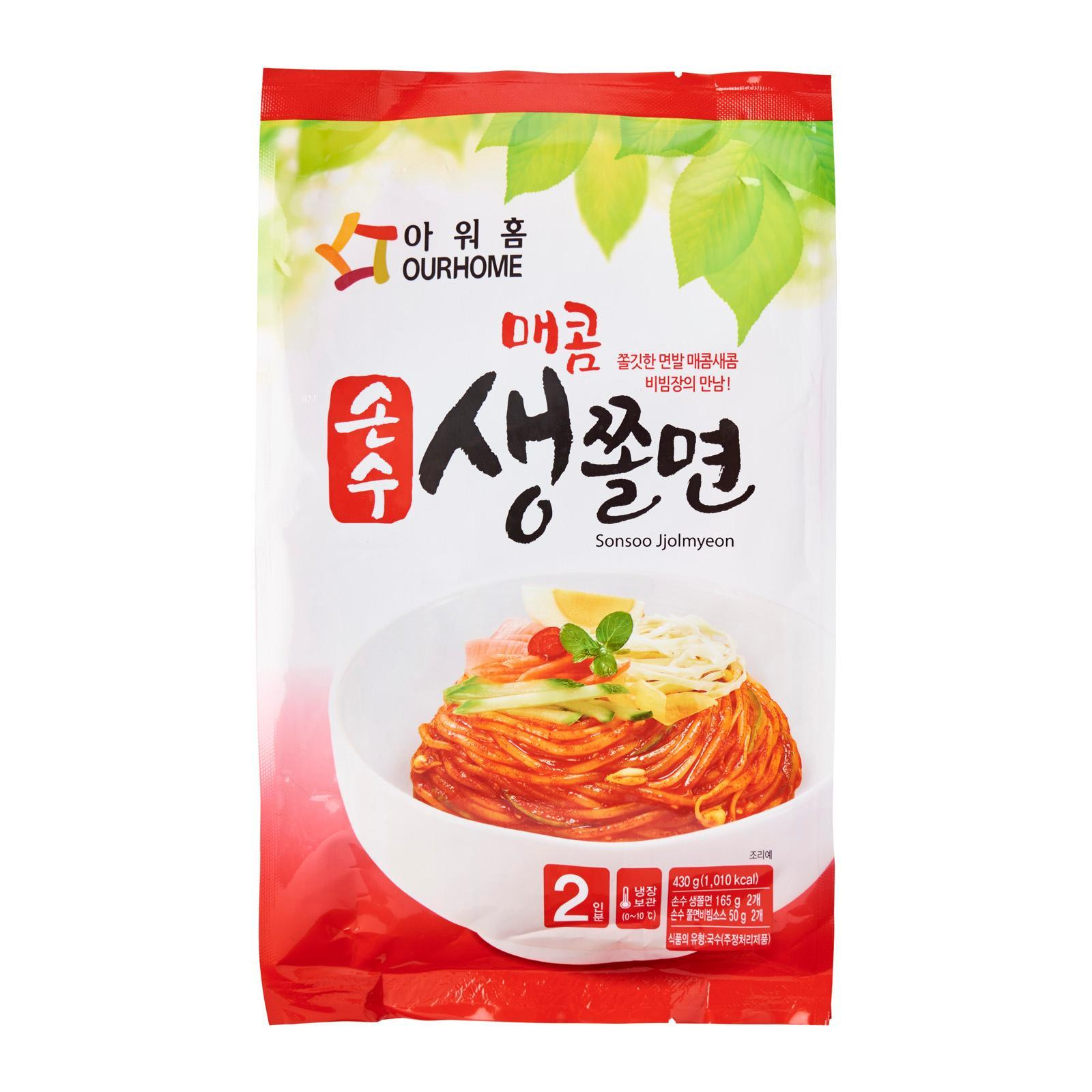 Ourhome Korean Style Spicy Cold Chewy Noodles - Frozen -Korea