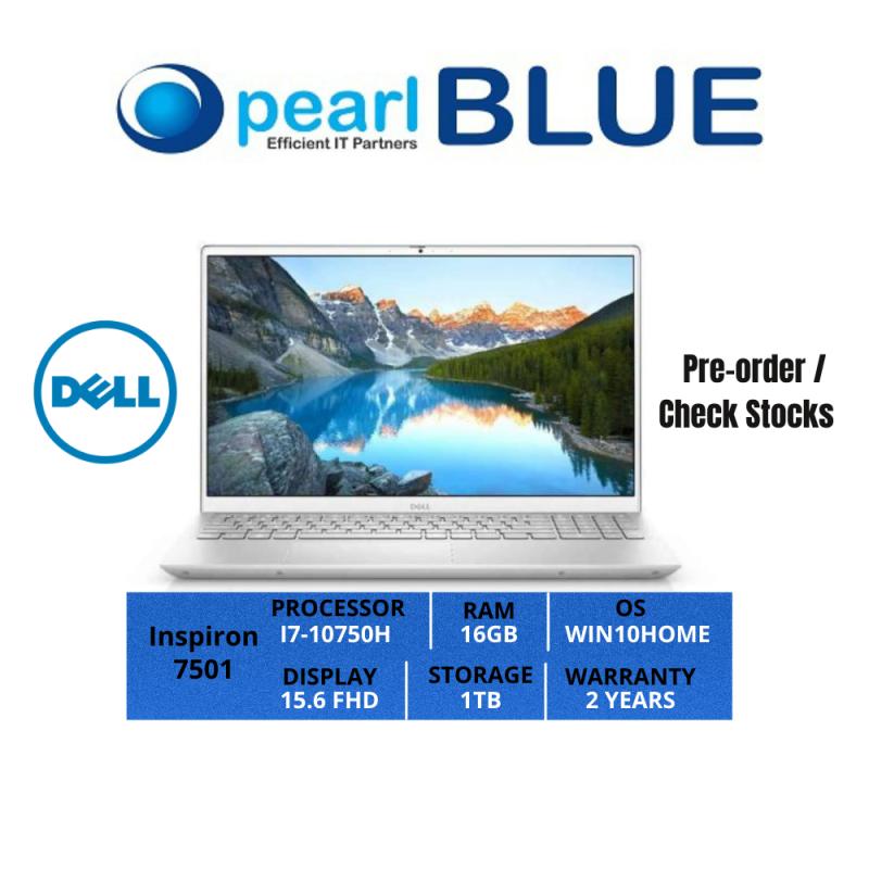 Dell Inspiron 15   7501   I7-10750H   16GB   1TB   15.6 FHD   1.75KGS   WIFI6   WIN10HOME   2 YEARS WARRANTY