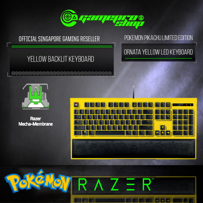 Razer Pokemon – Pikachu Limited Edition Backlit Keyboard - RZ03-02043700-R3D1 (2Y) Singapore