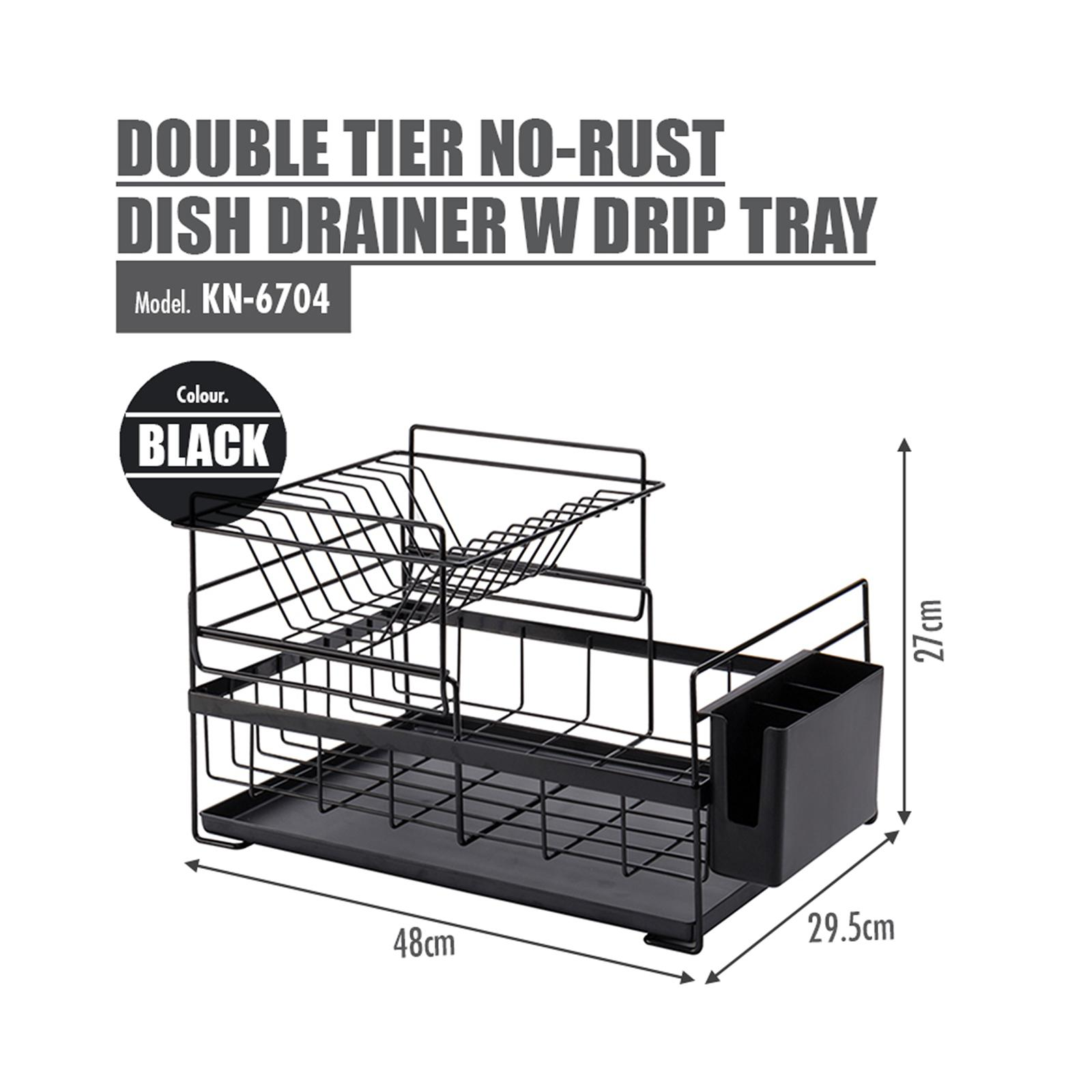 HOUZE Double Tier No-Rust Dish Drainer With Drip Tray - Black - KN-6704-BLACK