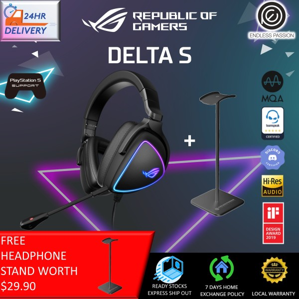 ASUS ROG Delta S Gaming Headset (AI noise-canceling mic, Hi-Res ESS 9281 QUAD DAC, USB-C, AURA Sync RGB Lighting , Lightweight,  MQA tech, Compatible with Laptop,PS5,Nintendo Switch and Smart Devices)