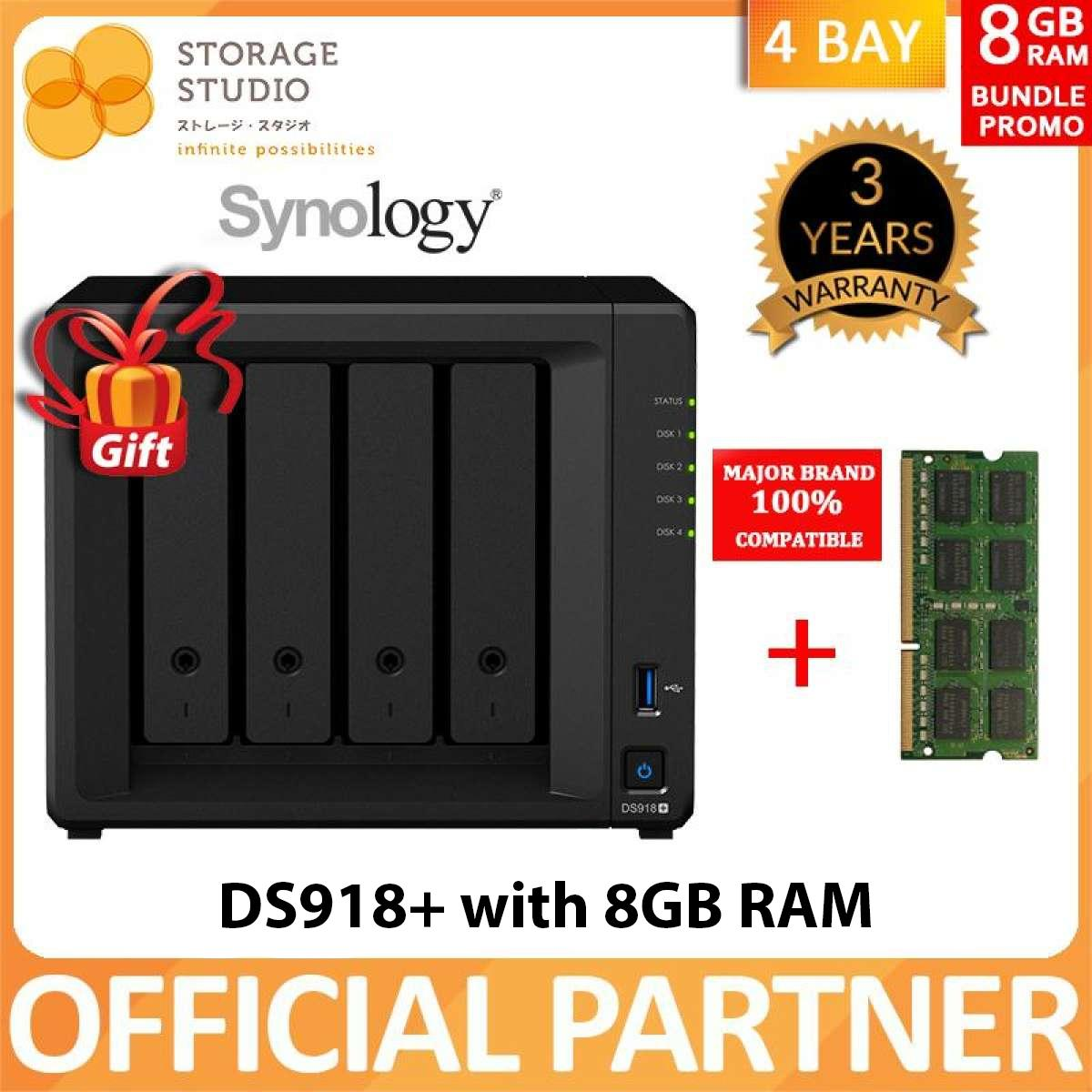 Synology 4 Bay Nas Ds918+ With 8gb Memory. Local Warranty 3 Years. Award Winning Product. ** Synology Official Partner ** By Storage Studio (s) Pte Ltd.