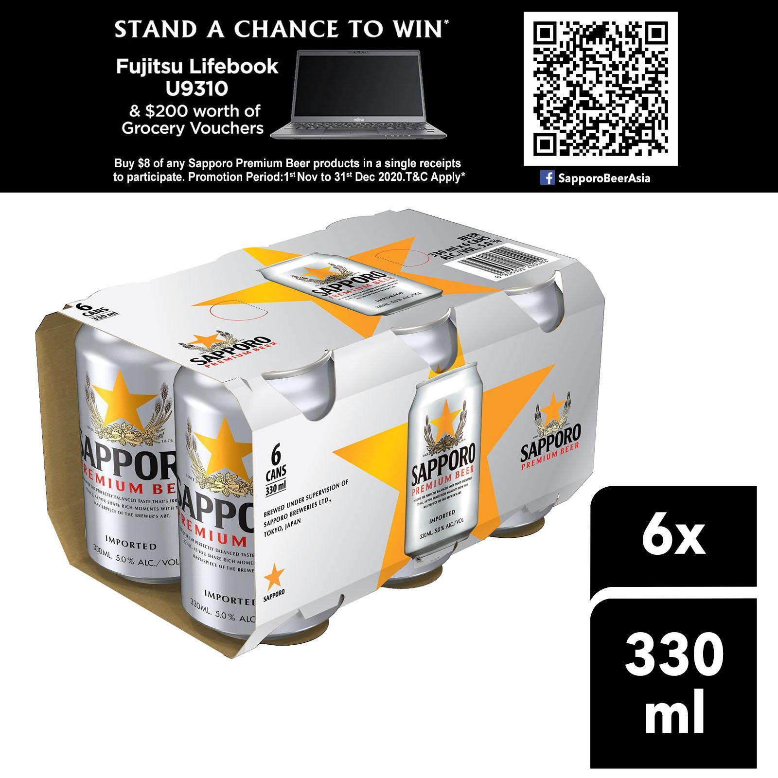 Sapporo Premium Draft Beer (6 x 330ml)