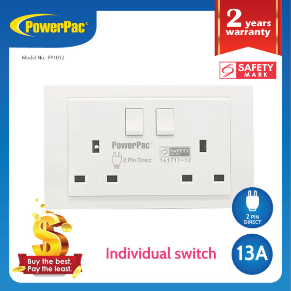 PowerPac - 13A 2Gang Switched Socket / Wall Socket with 2 Year Local Warranty (PP1012)