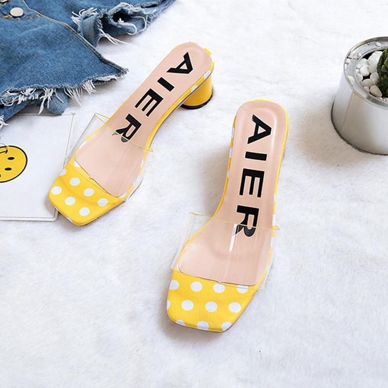 d4543fda3 Block Heel Online Celebrity Transparent Slipper Female Summer 2019 New Style  Simple High Heels Sandals Korean