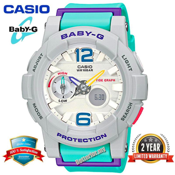 Original Casio Baby G BGA180 Women Sport Watch Dual Time Display 100M Water Resistant Shockproof and Waterproof World Time LED Light Girl Sports Wrist Watches with 2 Year Warranty BGA-180-3BPR Green Grey (Ready Stock) Malaysia