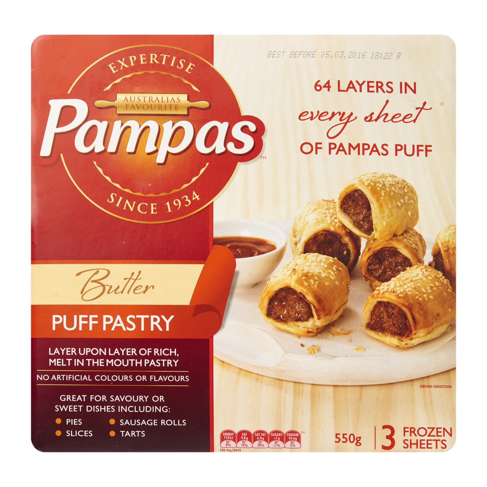 Pampas Pampas R/r Butter Puff Sheets (3 Sheets) - Frozen By Redmart.