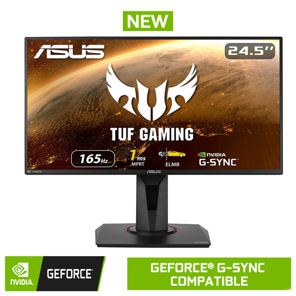 ASUS TUF Gaming VG259QR Gaming Monitor – 24.5 inch Full HD (1920 x 1080), 165Hz, Extreme Low Motion Blur™, G-SYNC Compatible ready, 1ms (MPRT), Shadow Boost