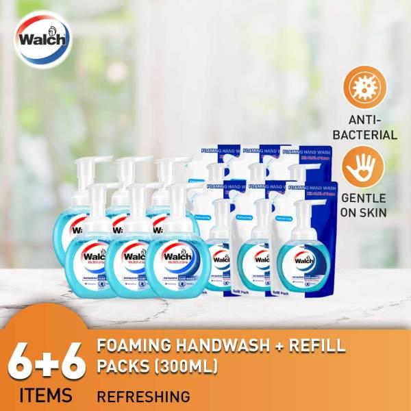 Buy Walch Foaming Handwash Refreshing 300ml x 12 (6 Bottles + 6 Refills)  Antibacterial  Kills 99.9% Germs Singapore