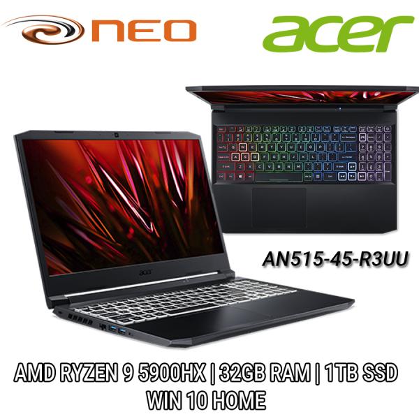 Acer Nitro AN515-45-R3UU (Black) QHD 15.6 | AMD RYZEN 9 5000 Series | 32GB RAM | 1TB SSD | WIN 10 HOME | 2 Years Local Singapore Carry-in Warranty