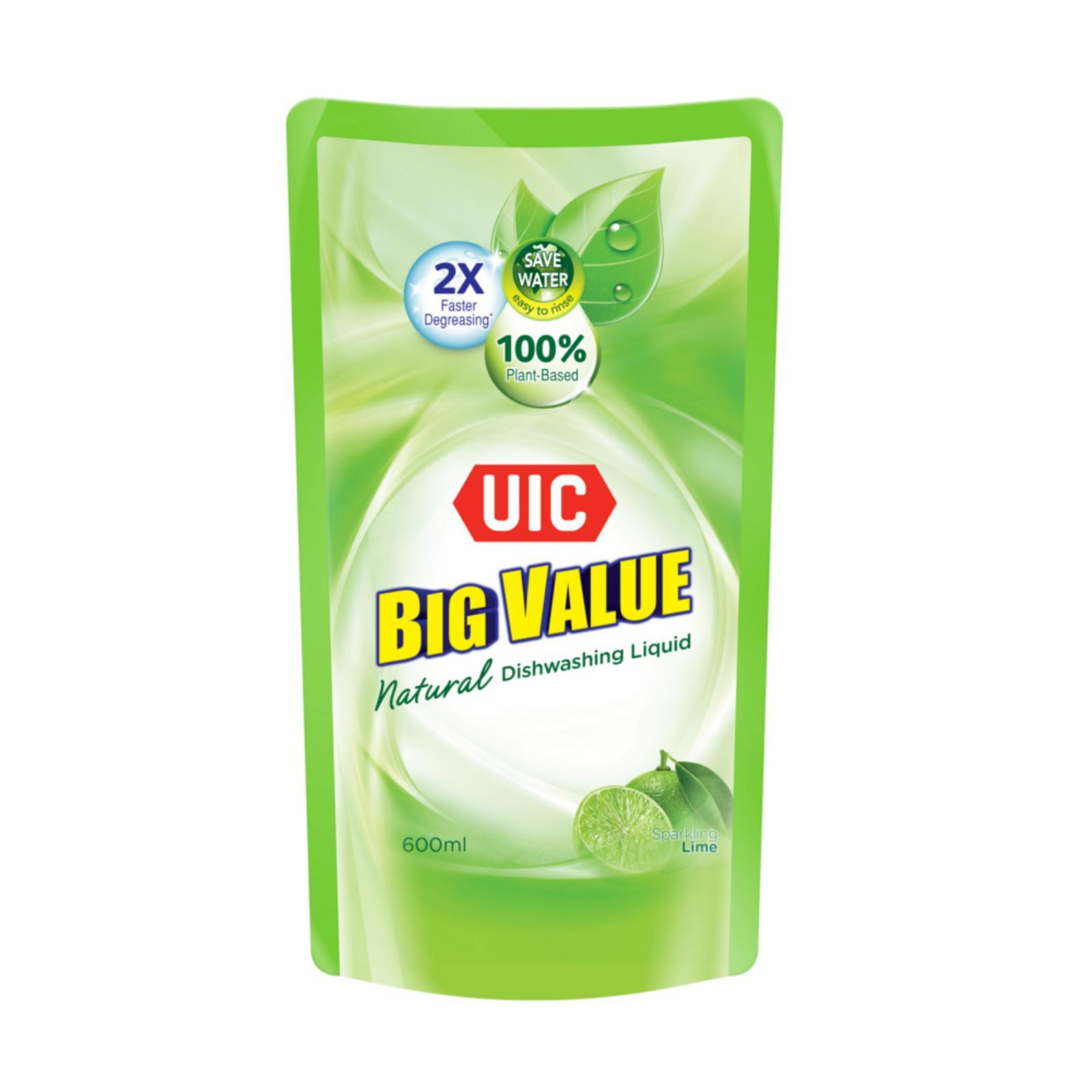 UIC Big Value Natural Dishwashing Liquid Refill - Lime