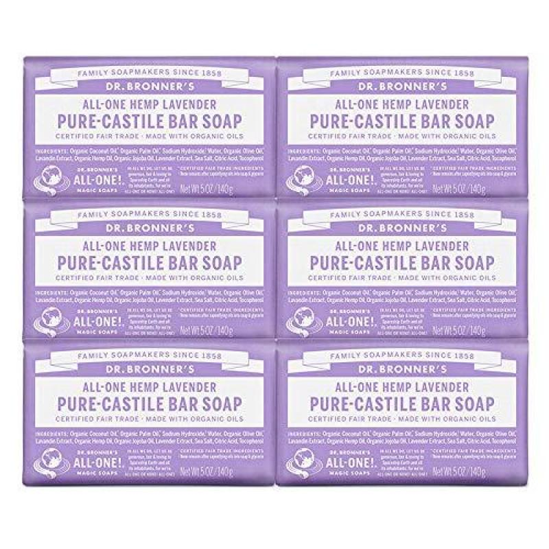 Buy Dr. Bronners Dr. Bronner's - Pure-Castile Bar Soap (Lavender, 5 ounce, 6-Pack) - Made with Organic Oils, For Face, Body and Hair, Gentle and Moisturizing, Biodegradable, Vegan, Cruelty-free, Non-GMO Singapore