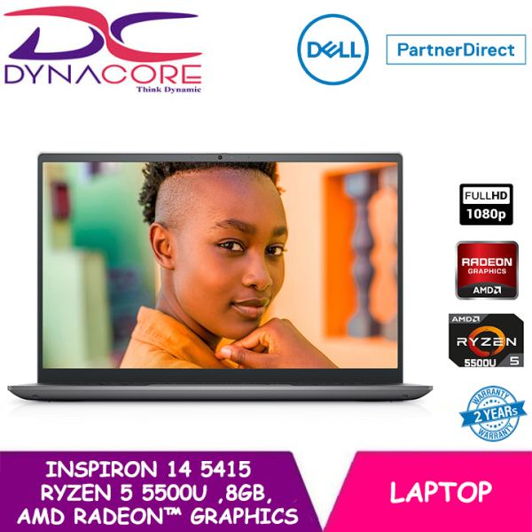 【READY STOCK】DYNACORE - DELL Inspiron 14 Laptop 5415 14 FHD | Ryzen™ 5 5500U | 8GB RAM | 512GB SSD | AMD Radeon™ Graphics | WIN 10 HOME | 2 YEARS WARRANTY