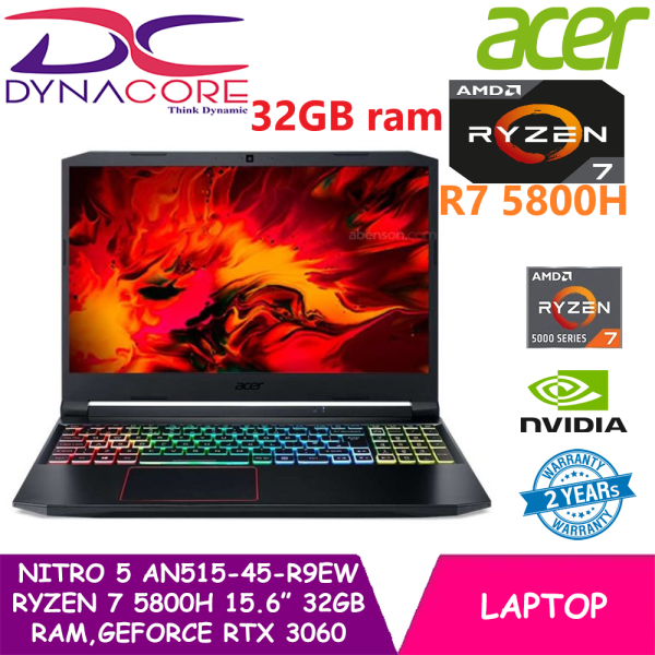 DYNACORE - Acer Nitro 5 Gaming AN515-45-R9EW 15.6 FHD IPS 144Hz | RTX3060 | AMD Ryzen 7 5800H 8 cores processor | 32GB RAM | 1TB SSD | Win10 Home | 2 Years Acer warranty