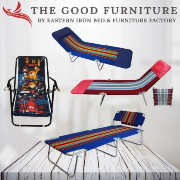 [TheGoodFurniture] Foldable Bed. Nap Bed. Beach Relax Chair. 3- Fold. HK Bed. Canvas Fabric. Portable. Easy storage.