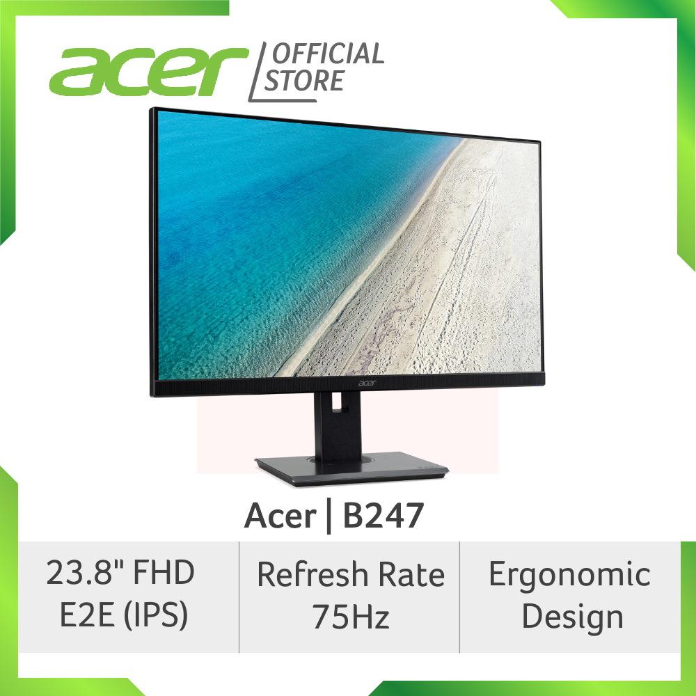 [Ready Stock] Acer Professional B247 23.8 Inch FHD E2E (IPS) Monitor with Ergonomic Design