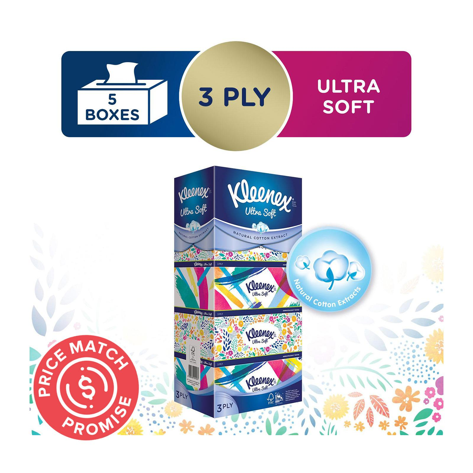 KLEENEX 3 Ply Facial Tissue Floral 5sX100Sheets