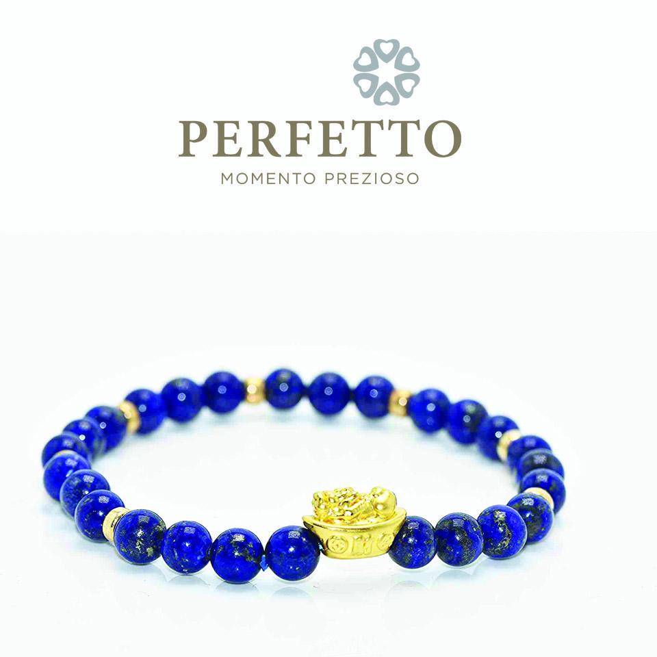 999 Pure Gold Pixiu (gold Ingot) Lapis Lazuli Bracelet.